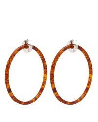 Balenciaga - Brown Tortoiseshell-effect Large Hoop Earrings - Lyst