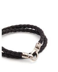 Tod's - Black Braided Leather Bracelet for Men - Lyst
