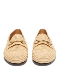 Gucci Brown Easy Roos Straw Loafers for men
