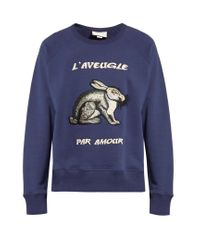 f39cd454ce4 Lyst - Gucci Embroidered Loopback Cotton-jersey Sweatshirt in Blue ...