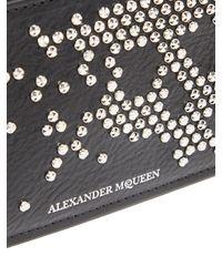 Alexander McQueen - Black Studded Skull Leather Zip Around Wallet for Men - Lyst