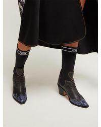 Fendi - Black Contrast-panel Leather Boots - Lyst