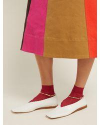 Maria La Rosa - Pink Ribbed Knit Silk Ankle Socks - Lyst