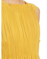 Valentino - Yellow Cape-back Silk-georgette Dress - Lyst