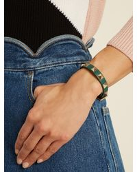 Valentino - Green Rockstud Leather Bracelet - Lyst