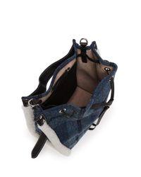 J.W. Anderson - Blue Drawstring Shearling-trim Harris Tweed Bucket Bag - Lyst