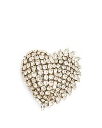 Saint Laurent - Metallic - Crystal Embellished Shark Tooth Clip On Earrings - Womens - Crystal - Lyst