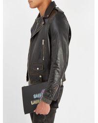Saint Laurent - Black Logo-print Leather Pouch for Men - Lyst