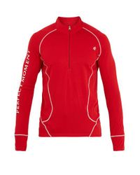 Perfect Moment Red High-neck Half-zip Base-layer Top for men
