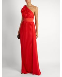 Elie Saab - Red One-shoulder Pleated Georgette Gown - Lyst