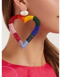 Carolina Herrera - Multicolor Beaded Heart Drop Earrings - Lyst