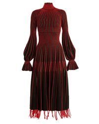 Alexander McQueen - Red Contrast-stitching High-neck Silk Dress - Lyst