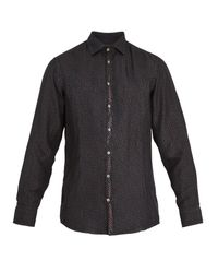 Massimo Alba - Black Point-collar Teardrop-print Silk Shirt for Men - Lyst
