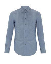 Maison Margiela | Blue Pleated-bib Cotton Shirt for Men | Lyst