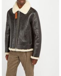 Acne - Multicolor Shearling And Leather Aviator Jacket for Men - Lyst