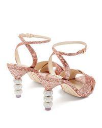 Sophia Webster - Pink Natalia Crystal Embellished-heel Glitter Sandals - Lyst