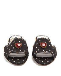 Dolce & Gabbana - Black Embellished Polka-dot Print Slides - Lyst