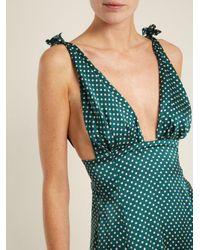 AlexaChung - Green Polka-dot Print Tie-shoulder Satin Dress - Lyst