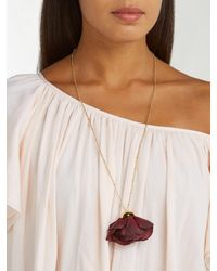 Elise Tsikis - Red Cuidad Silk Flower & 18kt Gold Necklace - Lyst