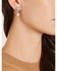 Miu Miu - Metallic Crystal-embellished Sterling-silver Earrings - Lyst