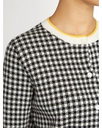 Miu Miu | Black Button-down Gingham-intarsia Cotton Cardigan | Lyst