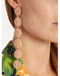 Gucci - Pink Embellished Flower-drop Earrings - Lyst