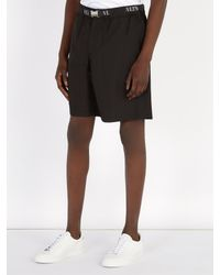 Valentino - Black Short en coton à ceinture et imprimé logo for Men - Lyst