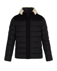 Herno - Black Shearling-trimmed Quilted-down Coat for Men - Lyst