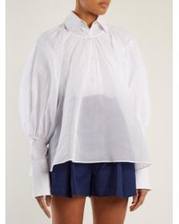 CECILIE BAHNSEN - White Astrid Puff-sleeved Cotton Top - Lyst
