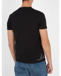Valentino - Black Eyelet-embellished Cotton-jersey T-shirt for Men - Lyst