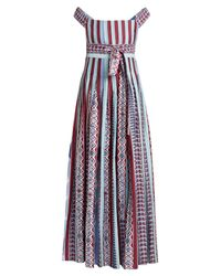 Le Sirenuse Blue Gretta Arlechino Print Cotton Dress