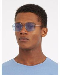Cutler & Gross | Blue 1267 Square-frame Palladium-plated Sunglasses for Men | Lyst