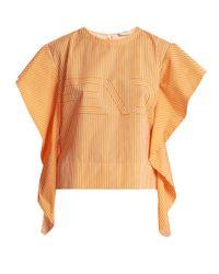 a762256f0d4f1 Fendi Logo-print Striped Cotton-poplin Top in Orange - Lyst