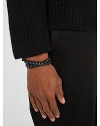 Valentino   Black Wraparound Rockstud-embellished Leather Bracelet for Men   Lyst