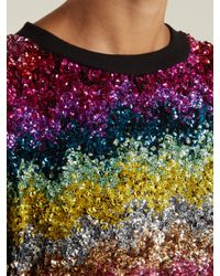 Ashish - Red Striped Sequin-embellished Silk Top - Lyst