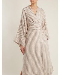 Three Graces London - Multicolor Isabella Striped Cotton-blend Robe - Lyst
