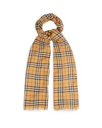 Burberry - Yellow Vintage Check Wool And Silk Scarf for Men - Lyst