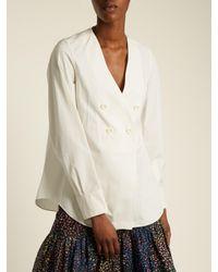 Chloé - Multicolor Double-breasted Cotton-poplin Top - Lyst