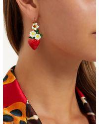 Dolce & Gabbana - Red Strawberry Drop Earrings - Lyst