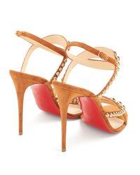 Christian Louboutin - Multicolor Galeria 100mm Stud-embellished Suede Sandals - Lyst