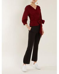 Cefinn - Red Belted Long Sleeve Wrap Top - Lyst