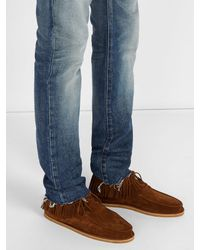 Saint Laurent - Brown Fringed Suede Desert Boots for Men - Lyst