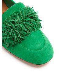 Aquazzura - Green Wild Thing Suede Loafers - Lyst