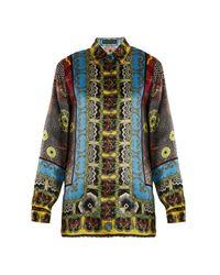 Etro - Multicolor Jungle-print Hammered Silk-satin Shirt - Lyst