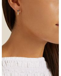 Ileana Makri - Metallic Diamond, Sapphire & Yellow-gold Earring - Lyst