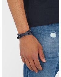 Valentino - Blue Wraparound Rockstud-embellished Leather Bracelet for Men - Lyst