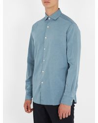 Ermenegildo Zegna - Blue Point-collar Cotton-chambray Shirt for Men - Lyst