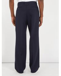 AMI - Blue Mid-rise Wide-leg Trousers for Men - Lyst