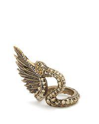 Lanvin - Metallic Crystal-embellished Swan Ring - Lyst
