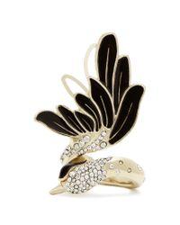 Lanvin | Black Crystal-embellished Swan Ring | Lyst
